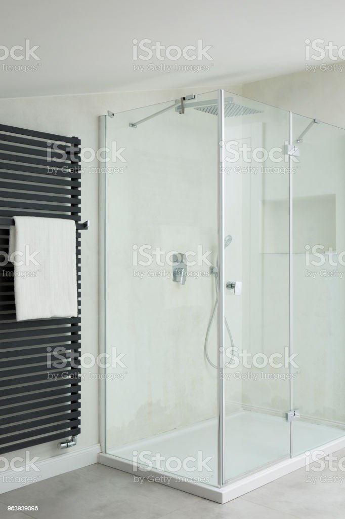 シャワーを備えたバスルーム - お手洗いのロイヤリティフリーストックフォト