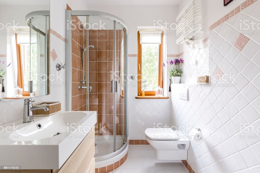 Shower in small white bathroom stock photo