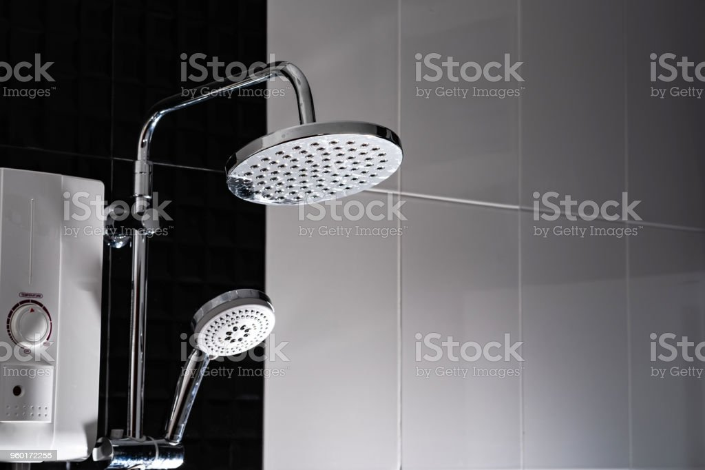 Shower in the bathroom stock photo