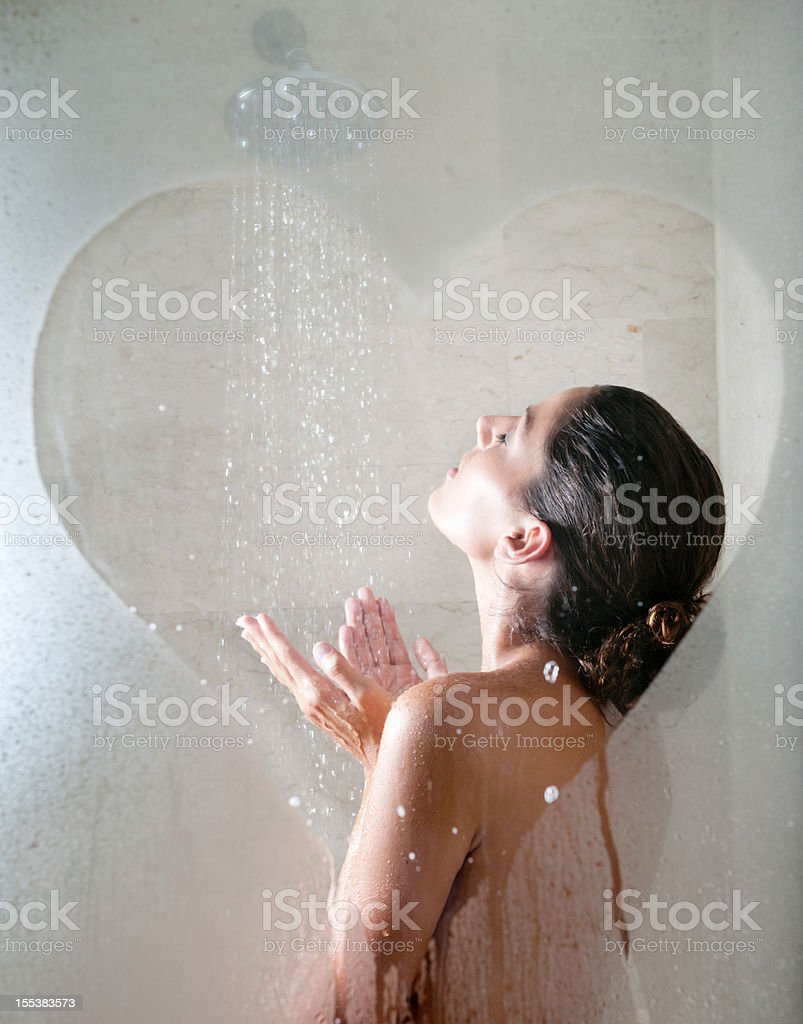 Shower Love, Naked Beautiful Woman Showering royalty-free stock photo