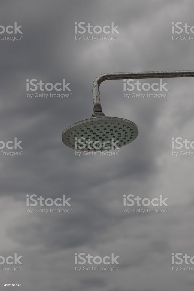 Shower on a beach royalty-free stock photo
