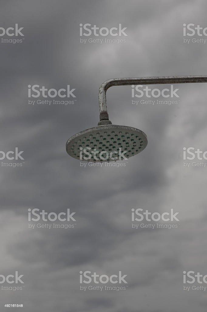 Shower on a beach stock photo