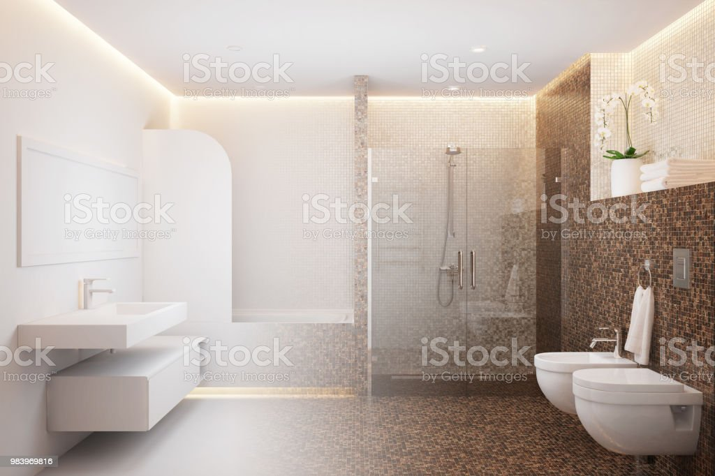 Shower room becomes a real interior stock photo