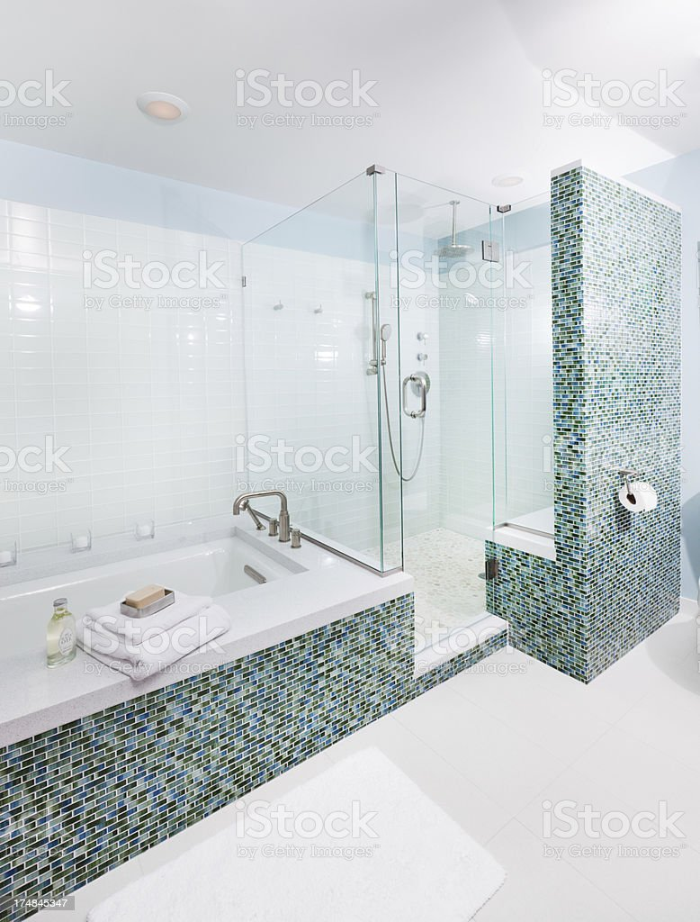 Shower Stall and Bath with Glass Tiles in Modern Bathroom stock photo