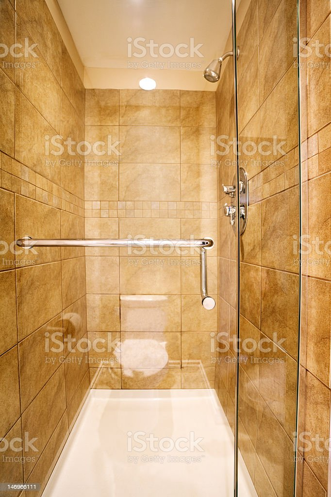 Shower stall in new home stock photo