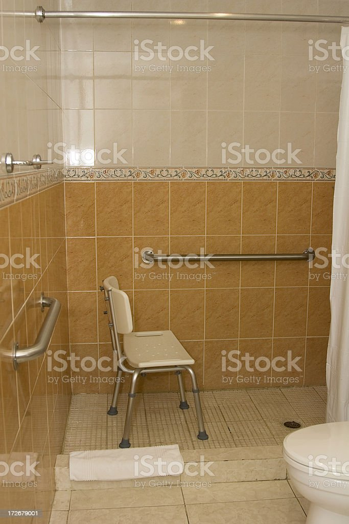 shower with grab bars royalty-free stock photo