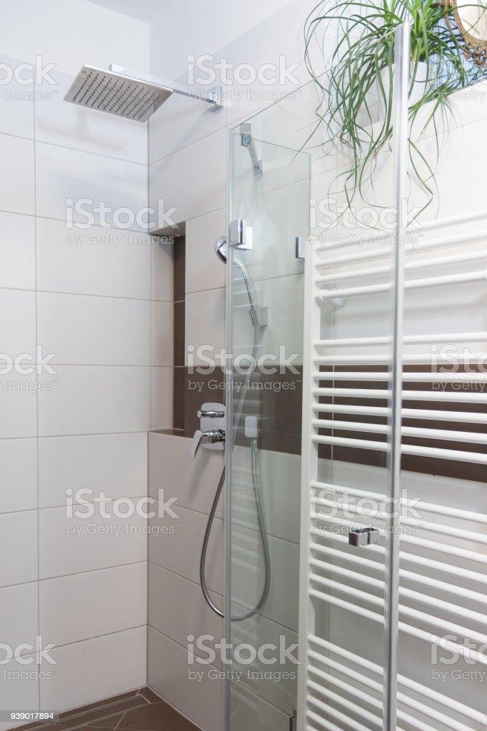 Dusche Mit Modernem Design Kombiniert Mit Weiß Und Braun ...