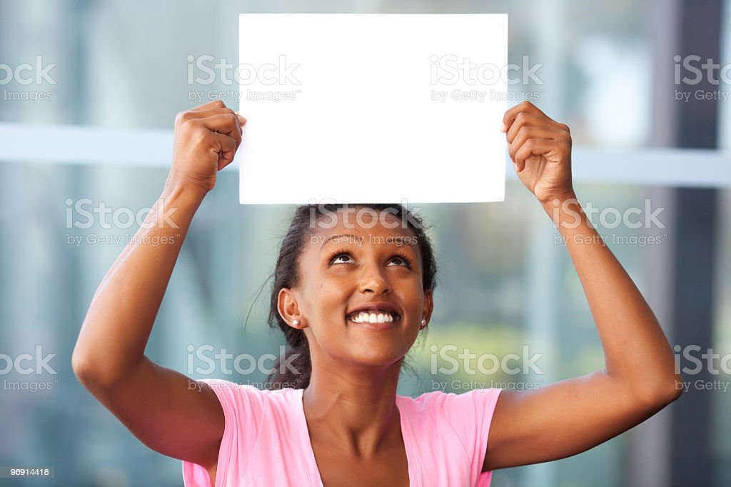 Showing a blank paper royalty-free stock photo