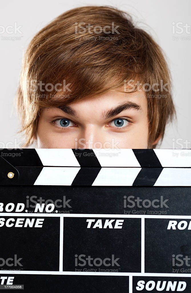 Showing a clapboard royalty-free stock photo