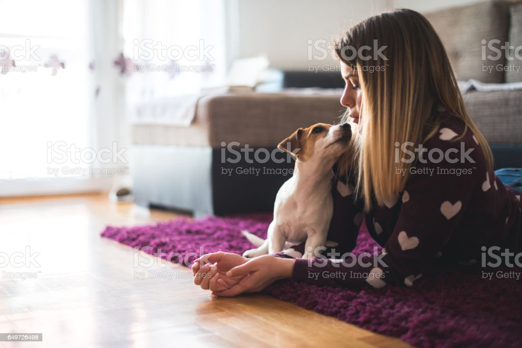Showing affection to her stock photo