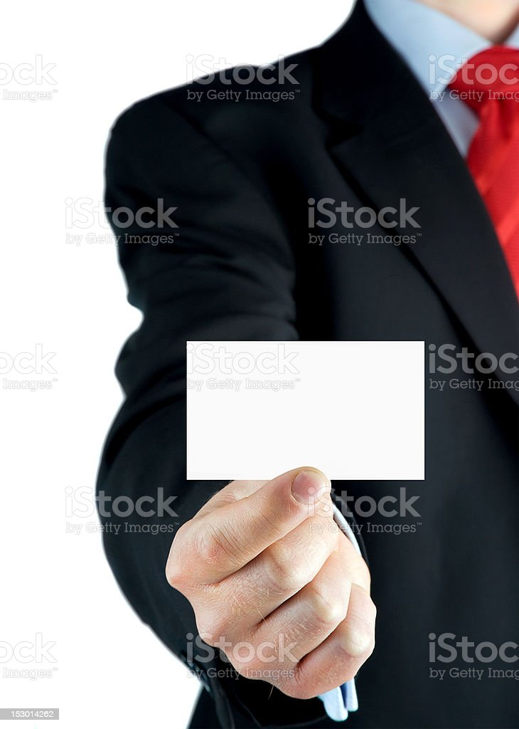 Showing blank business card in hand royalty-free stock photo