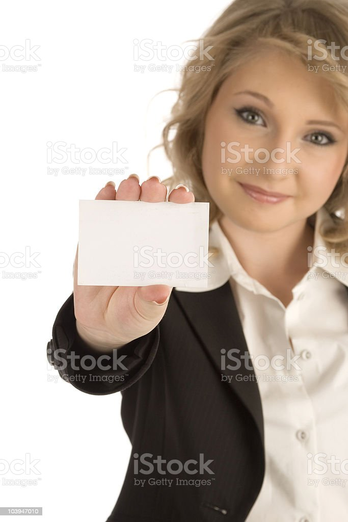 Showing blank card royalty-free stock photo