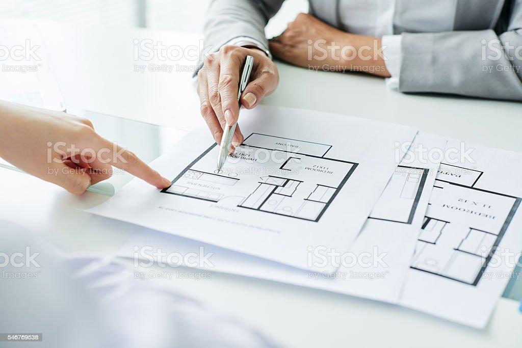 Showing blueprint stock photo