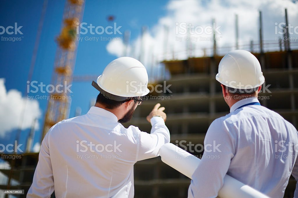 Showing building construction stock photo