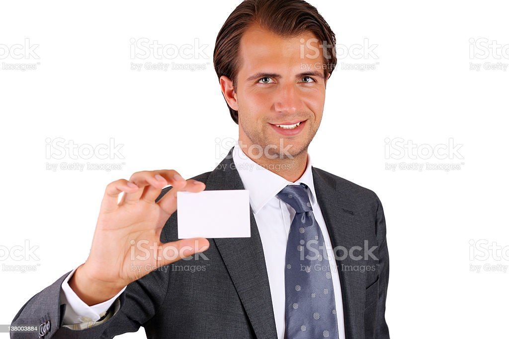 Showing business card royalty-free stock photo