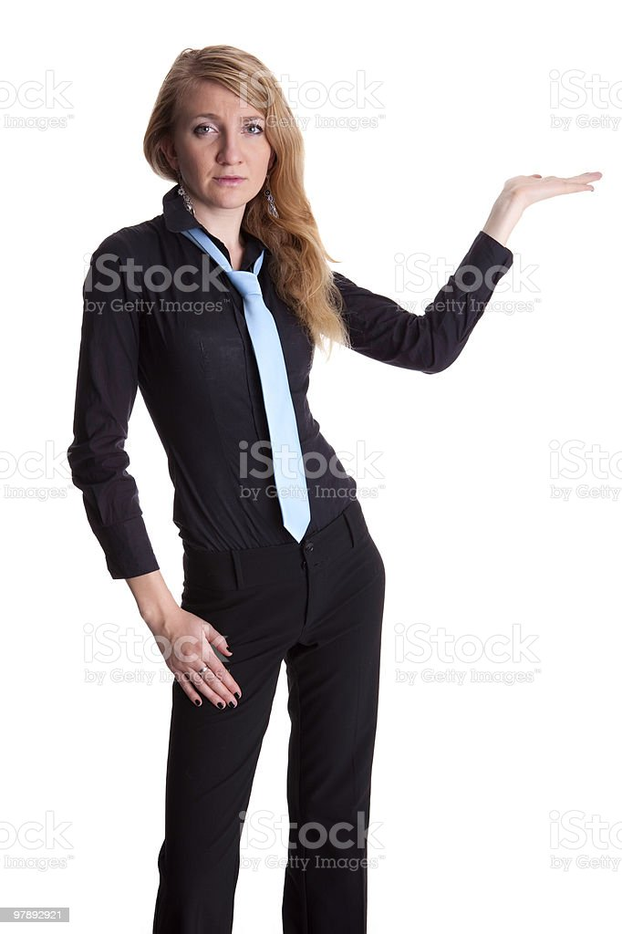 Showing businesswoman, isolated on whit royalty-free stock photo