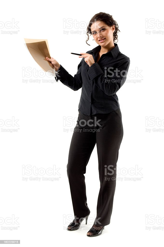 Showing businesswoman royalty-free stock photo