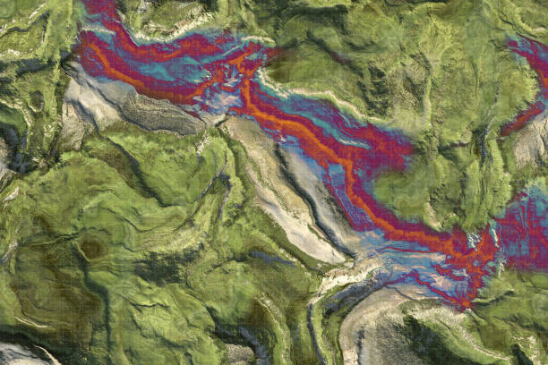 Showing Climate Change on topography map stock photo
