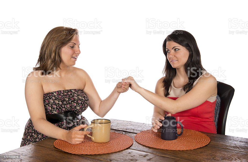 Showing engagement ring to friend royalty-free stock photo