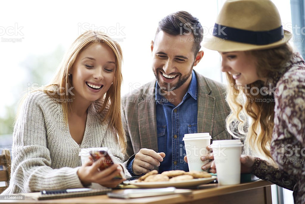 Showing funny pictures stock photo