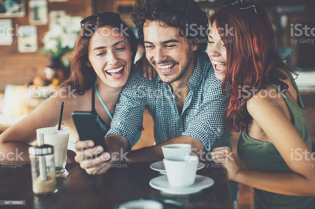 Showing funny pictures royalty-free stock photo
