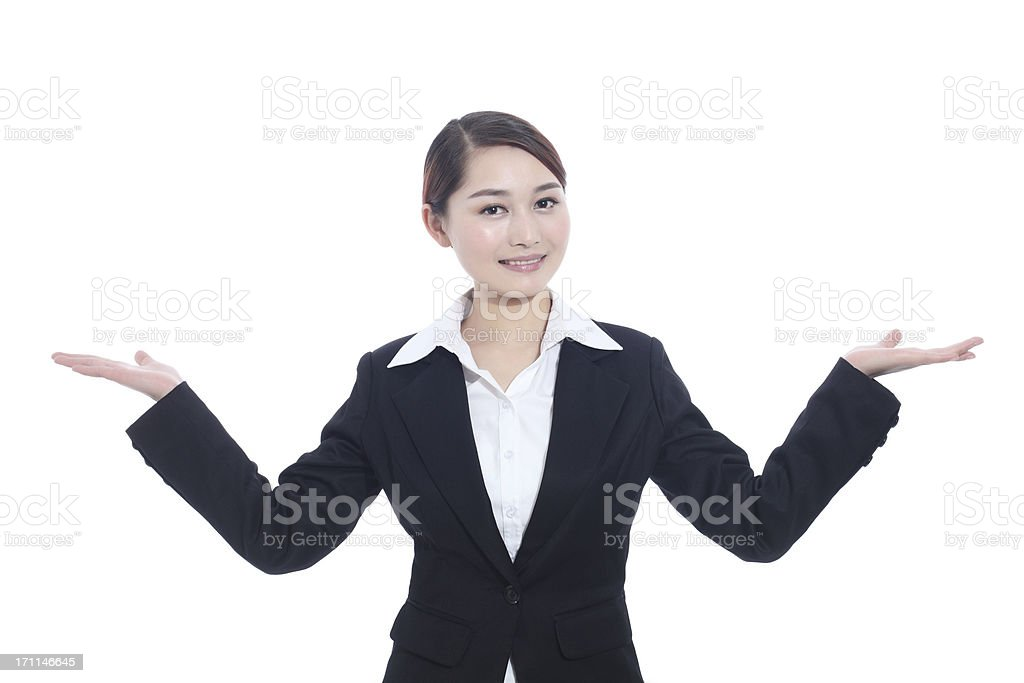 showing gesture business woman stock photo