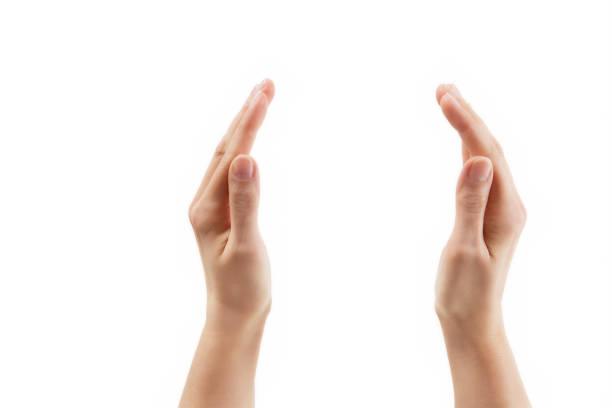 mostrando las manos – dos manos hacia mutuamente aisladas con trazado de recorte - gran inauguración fotografías e imágenes de stock