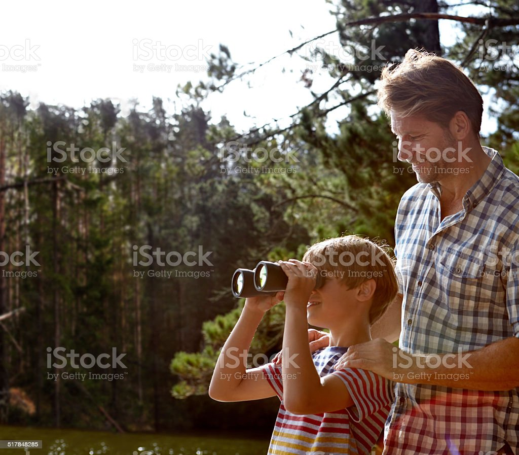 Showing him the beauty of nature stock photo