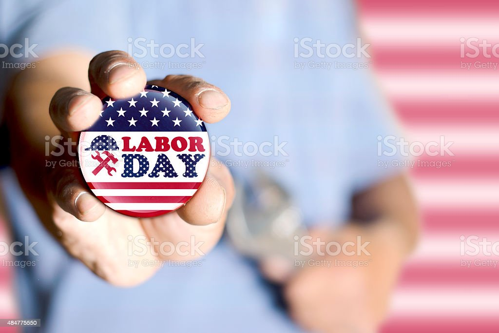 Showing labor day badge stock photo