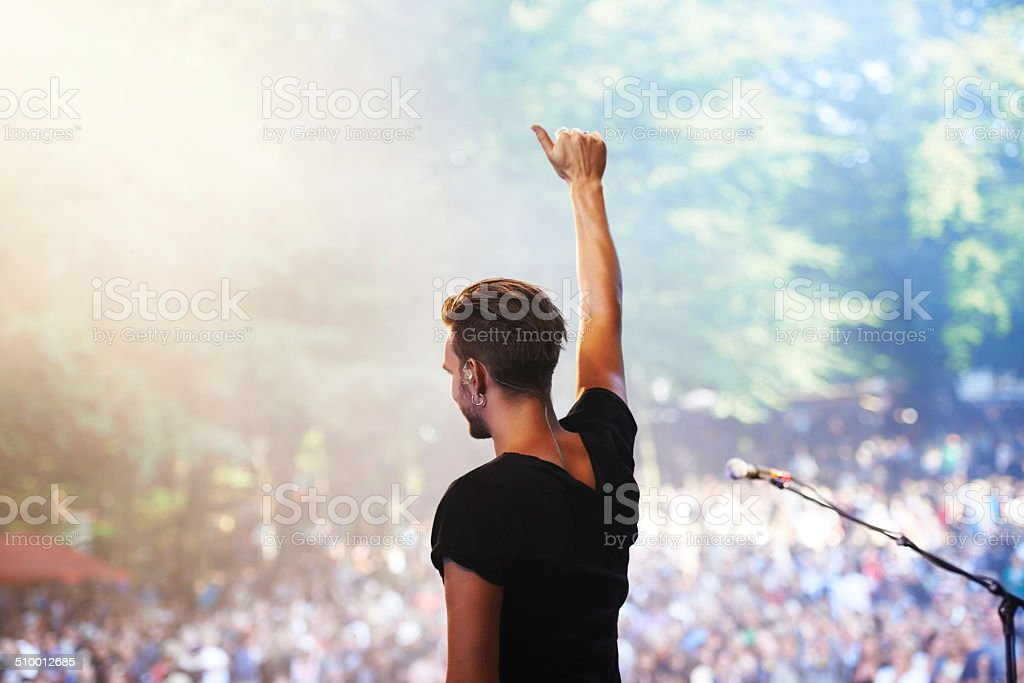 Showing love for the fans stock photo