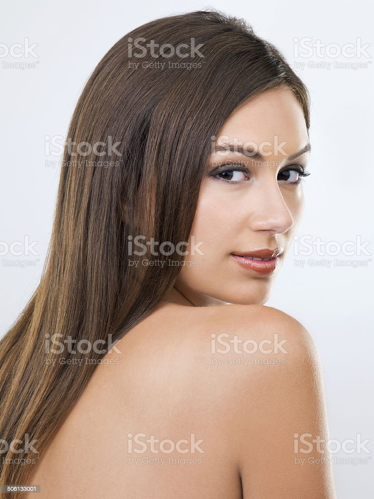 Showing off her beautiful hair stock photo