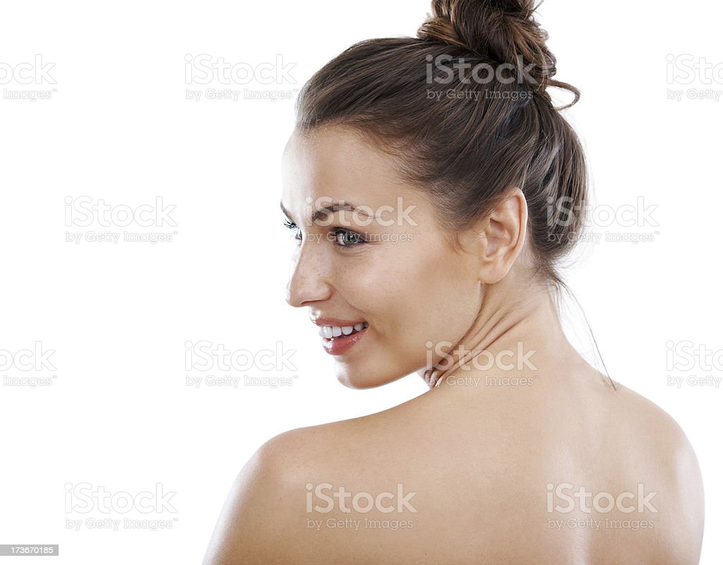 Showing off her flawless skin stock photo