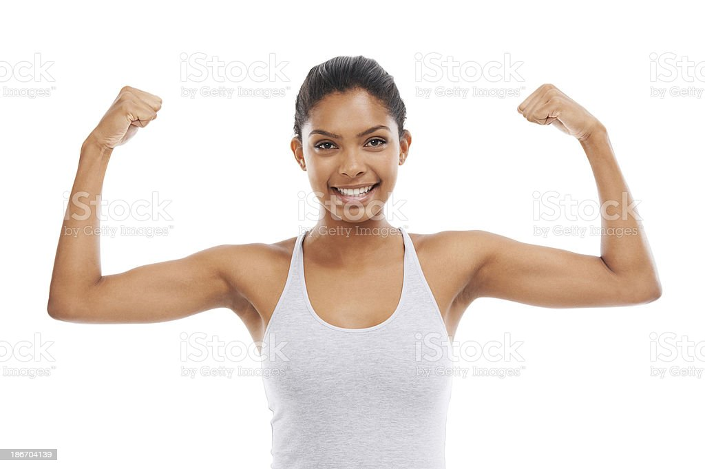 Showing off her muscles royalty-free stock photo