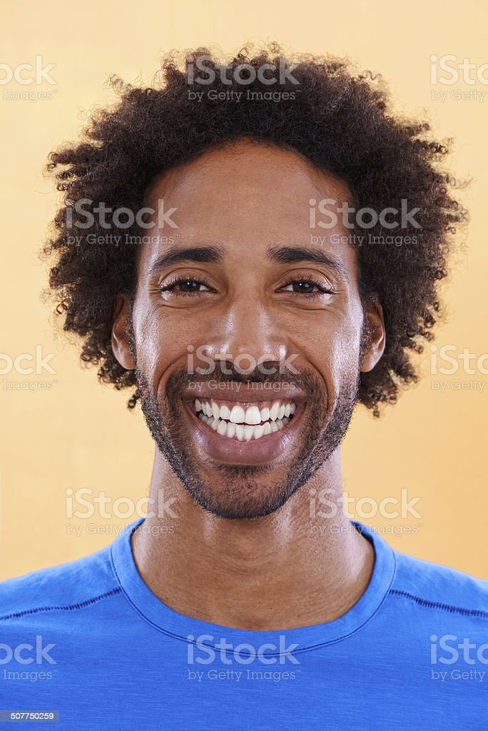 Showing off his brightest smile stock photo