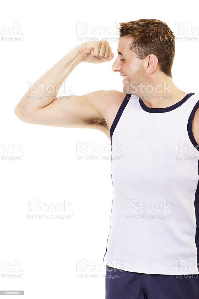 Showing off muscle stock photo