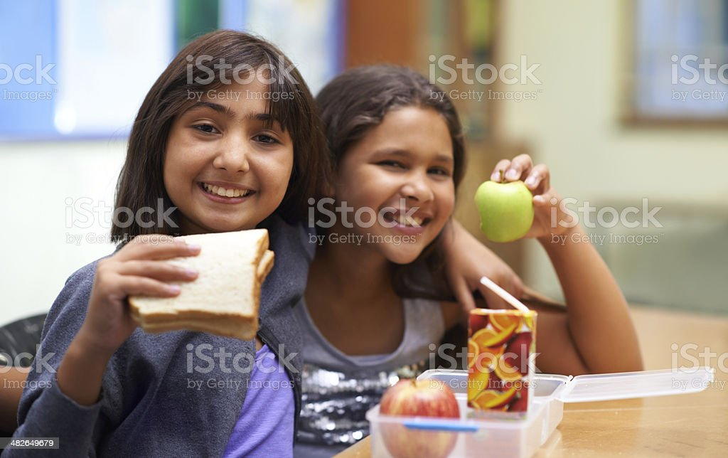 Showing off their lunch stock photo