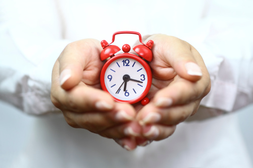 Showing Red Alarm Clock Stock Photo - Download Image Now
