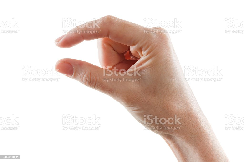 Showing small thing gesture stock photo