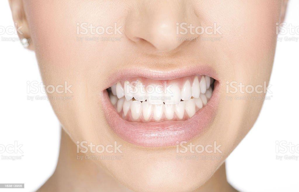 Showing teeth stock photo