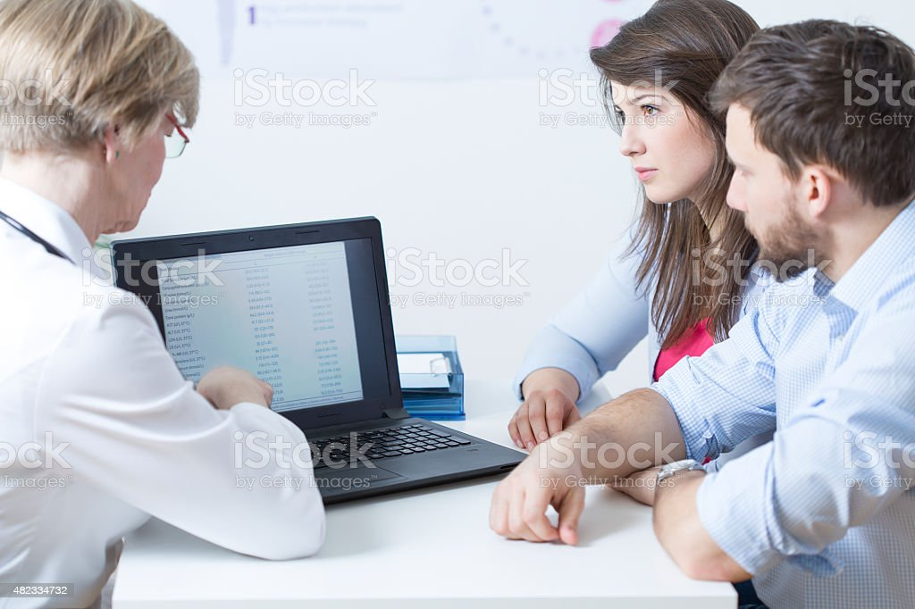 Showing test results stock photo