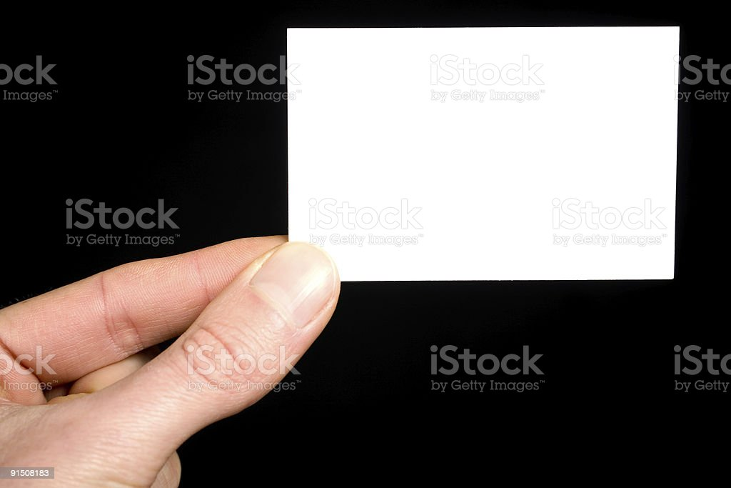 Showing the business card royalty-free stock photo