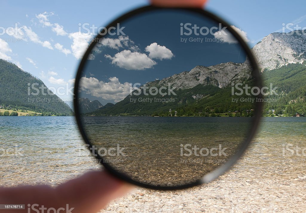 Showing the circular polarizer effect stock photo