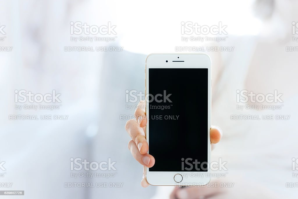Showing the new iPhone 7 plus smartphone stock photo