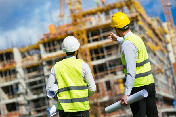 Showing the progress on construction site stock photo