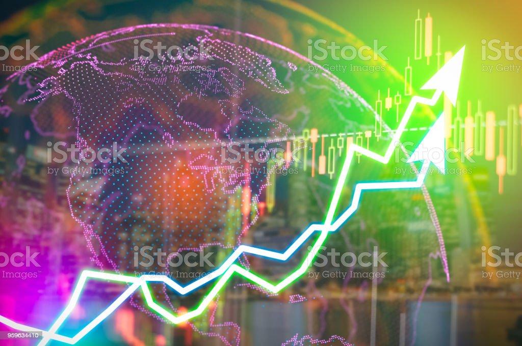 que muestra el gráfico de comercio sobre la foto borrosa Resumen, Business monitor gráfico y el comercio del mercado de futuros de la inversión, interfaz de la aplicación debe operar con acciones, monedas. herramienta de corredor de bolsa. - Foto de stock de Actividades bancarias libre de derechos