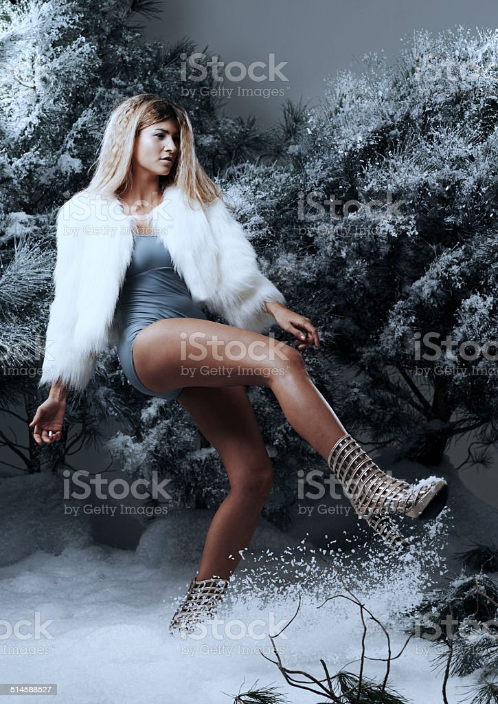 Showing winter who's boss stock photo