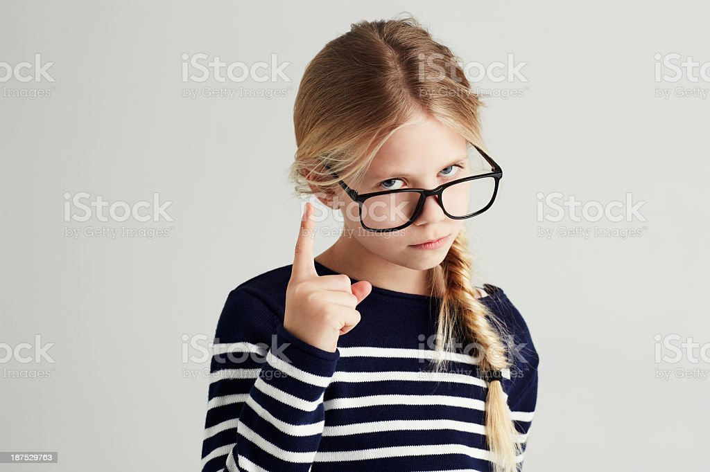 Showing you she's the boss! stock photo