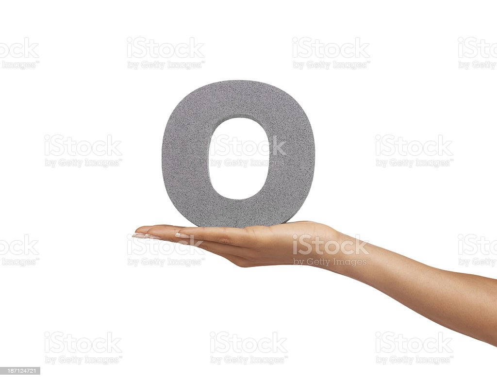 Showing you the letter 'O' royalty-free stock photo