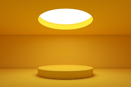 Showroom with round ceiling light and table