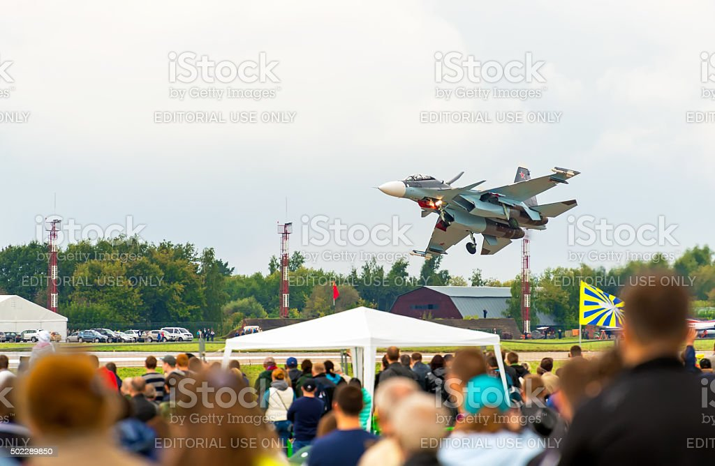 Shows demonstration flight at MAKS 2013. stock photo